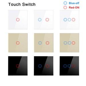 UK EU Standard Wall Touch Switch Wall Light Switch Crystal Glass Panel sensor switch 1 Gang AC220V