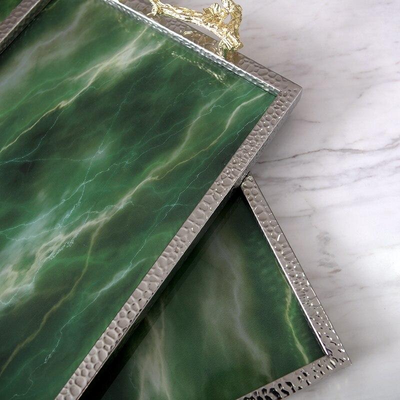 Plateau créatif rectangulaire en pierre d'agate verte | Plateau de Texture, ornement de luxe, plateau de rangement de Table en marbre, plateau de service - 3