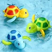 QWZ yeni sevimli karikatür hayvan kaplumbağa klasik bebek su oyuncak bebek yüzmek kaplumbağa yara up zinciri Clockwork çocuklar plaj banyo oyuncakları
