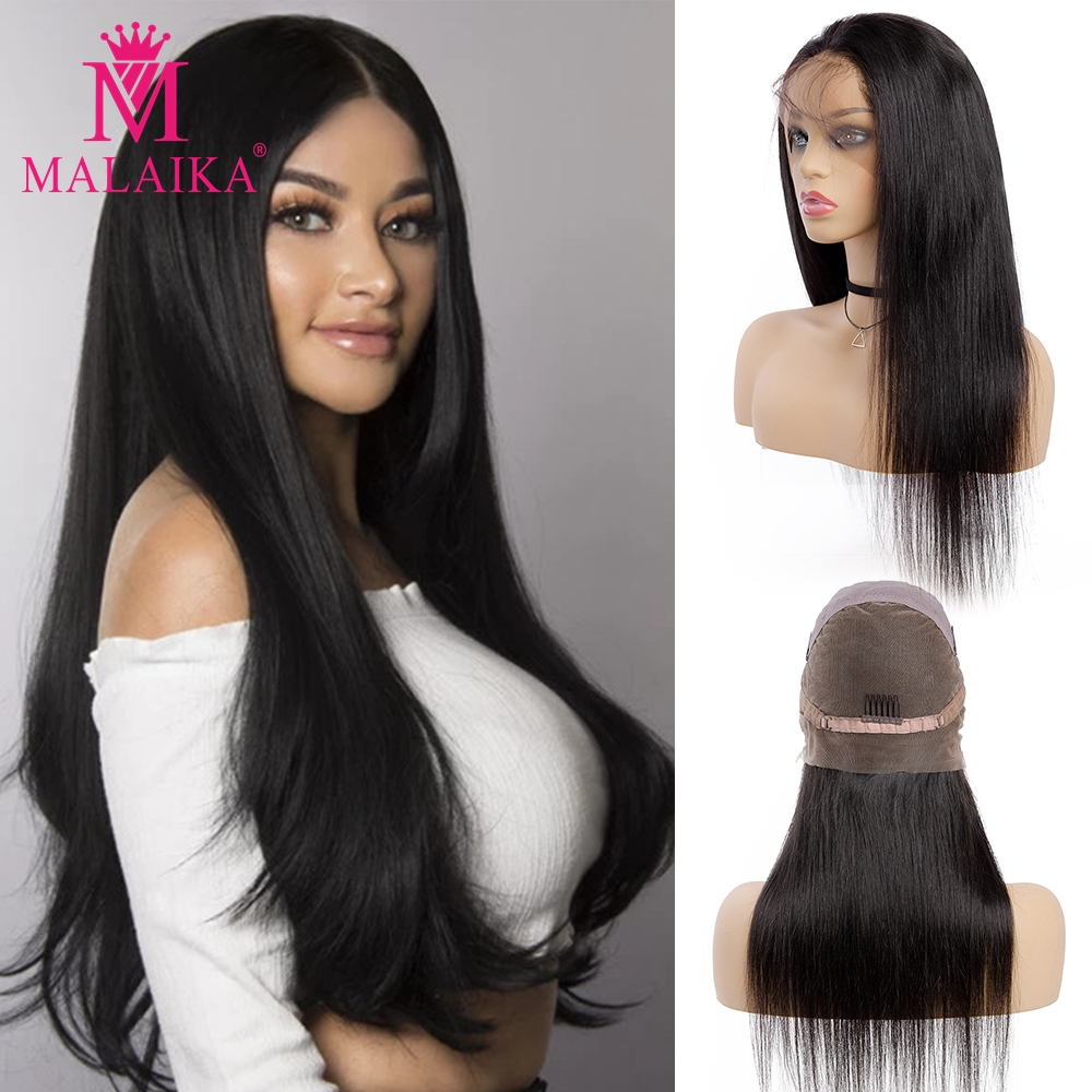 MALAIKA Hair Brazilian Straight FULL Lace Wigs Pre Plucked Hairline With Straight Hair 100% Human Hair Wigs