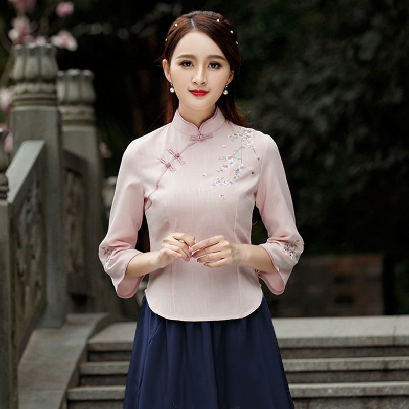 Pink Chinese Style Shirts Cotton Tops Half Sleeve Cheongsam Qipao Shirts Vintage Blouse Traditional Chinese Clothing For Women