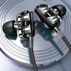 3.5mm de alta fidelidade quad-core subwoofer fones de ouvido in-ear fones de ouvido estéreo fone de ouvido microfone único e duplo alto-falantes