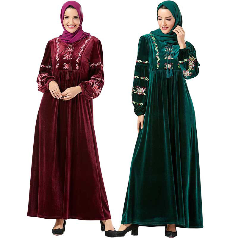 Winter Velvet Abaya Dubai Hijab Muslim Dress Islamic Clothing Women Turkish Dresses Kaftan Caftan Grote Maten Dames Kleding Oman