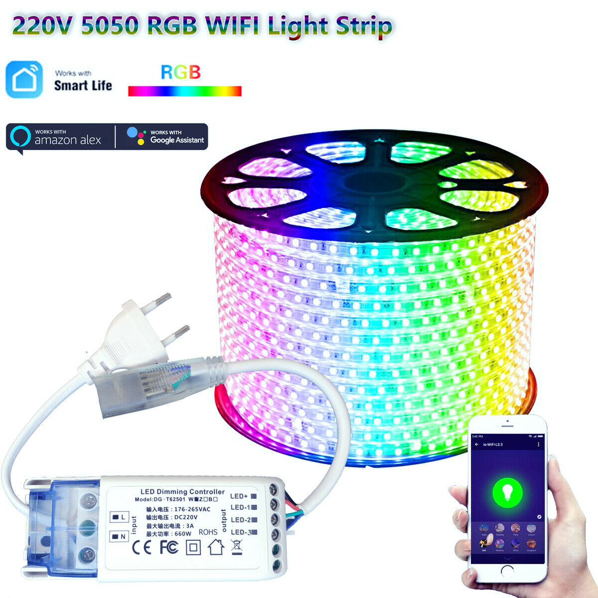 220V WIFI Smart life TUYA APP Controller 1m-30m RGB LED 5050SMD LED Strip  RF Remote control LED Dimmer for Aleax Google
