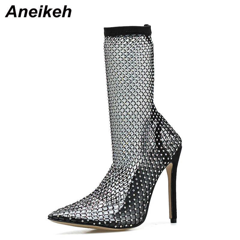 Aneikeh yeni bahar kristal örgü botları kadın PVC pist yüksek topuklu ayakkabı ince topuklu pompalar seksi bayanlar parti düğün sandalet çizme