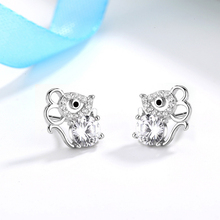 2020 Cute Mouse Stud Earrings Women 925 Sterling Silver Jewelry Fashion Full Zircon Rose Gold Girl N