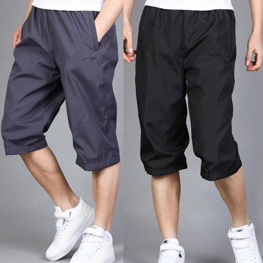 Summer Sports Capri Pants Men Breeches Elasticity Quick-Dry Ultra-Thin Fitness Sports Shorts Dacron Loose-Fit Running Pants