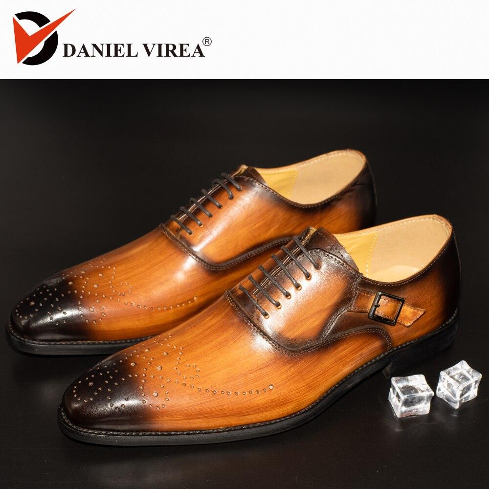 Zapatos de vestir de hombre con hebilla de cuero para oficina, negocios, boda, hecho a mano, Brogue, Formal, puntiagudos, zapatos para hombre-in Zapatos formales from zapatos    1