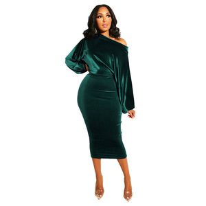 Image 4 - Women New 2020 Spring Winter Off Shoulder Long Sleeve High Waist Velvet Bodycon Dress Office Lady Pencil Party Dresses 5 Colors