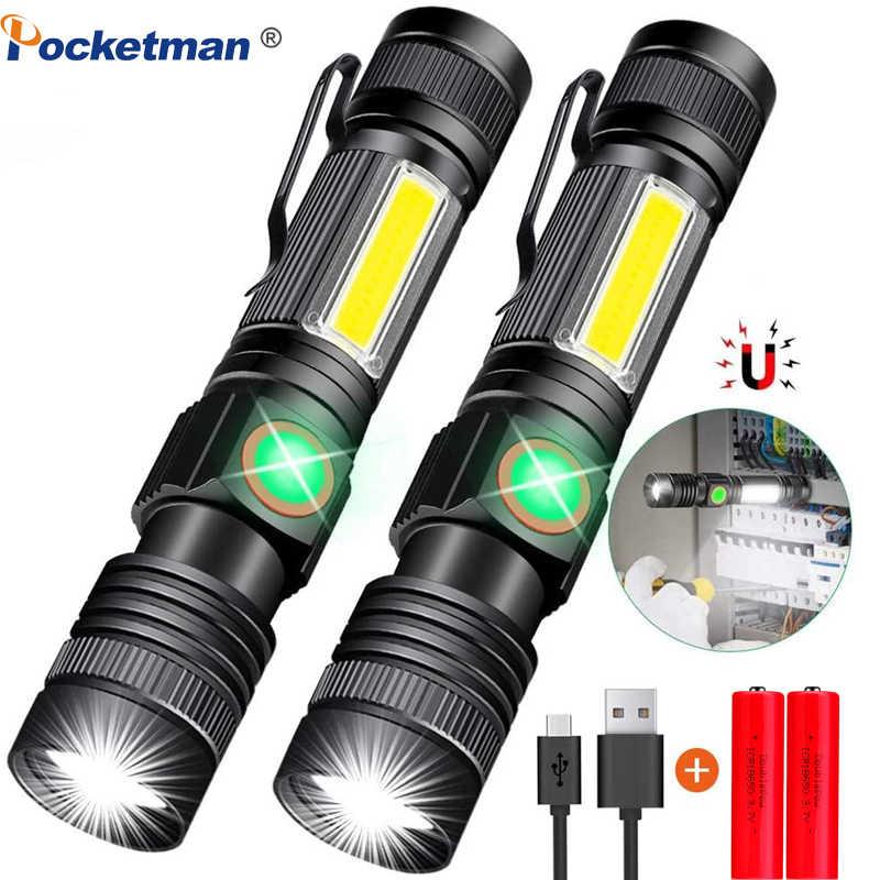 8000LM USB Sạc Đèn Pin Siêu Sáng Từ Đèn Led Đèn Pin Với COB Sidelight Một Kẹp Túi Phóng To Dành Cho Cắm Trại