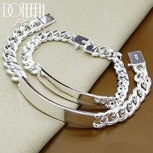 DOTEFFIL 925 Sterling Silber 2 stücke Armband 10mm Glatte Seitlich Kette Für Männer Frauen Hochzeit Engagement Party Schmuck