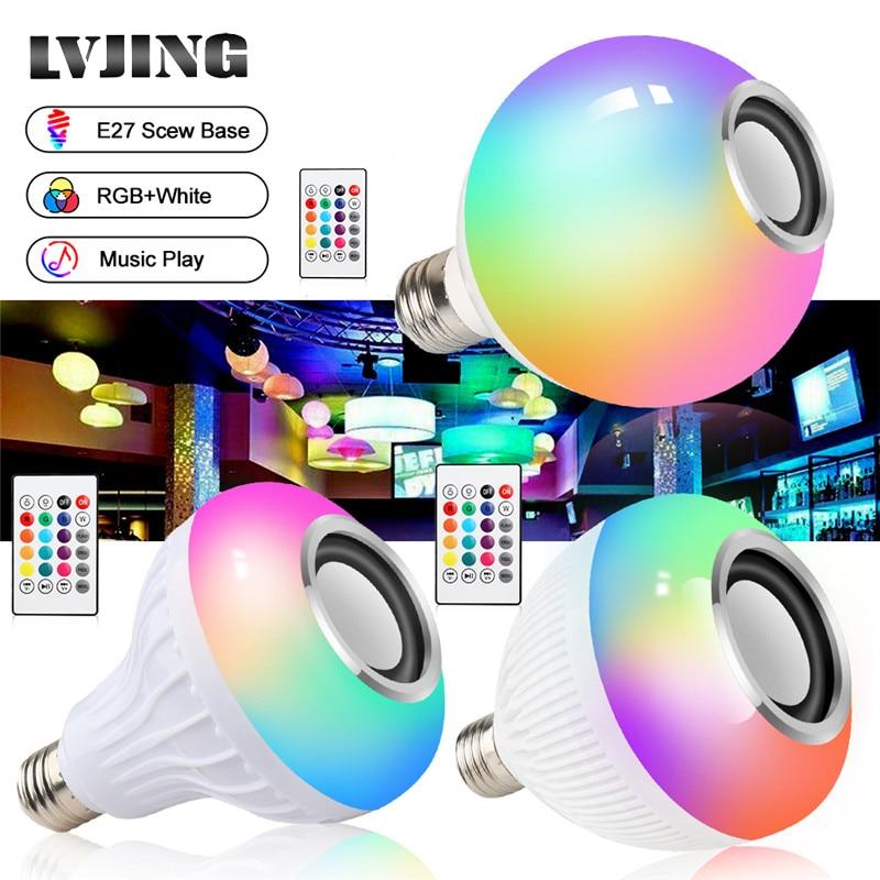 Smart E27 RGB Weiß Bluetooth Lautsprecher Led-lampe Licht Musik Spielen Dimmbar Drahtlose Led Lampe mit 24 Keys Fernbedienung