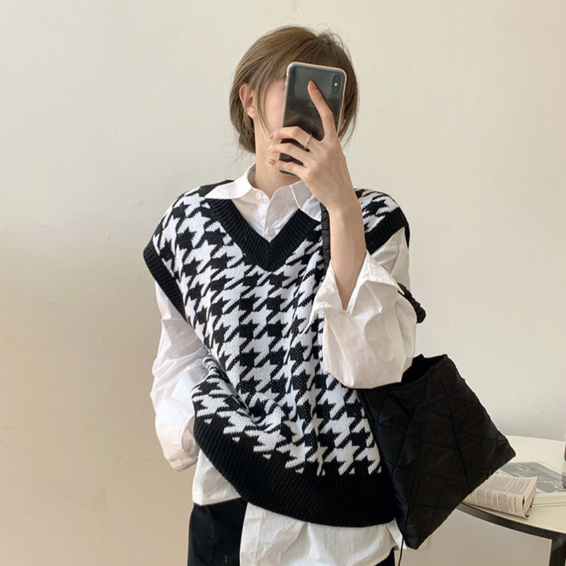 Hea5dc77cfe6b4e1491eaa1cdf136f77dF Women Sweater Vest Autumn Houndstooth Plaid V-neck Sleeveless Knitted Vintage Loose Oversized Female Sweater Vest Tops
