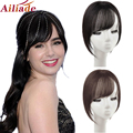 AILIADE Synthetic 3D Gradient Bangs Invisible Replacement Clip in Top Hair Wig Side Fringe Air Bangs Women Natural Hairpieces
