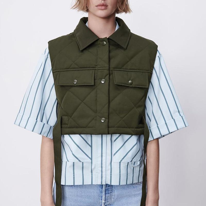 Fashion Large Pocket Design Waistcoat Streetwear Tops Womens Vest Army Green Lapel Sleeveless Jacket