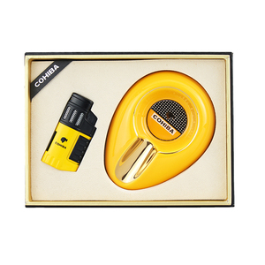 Cigar Ashtray Lighter Windproof Torch Jet Flame Cigar Accessoriesset Butane Gas with Punch Gift Box
