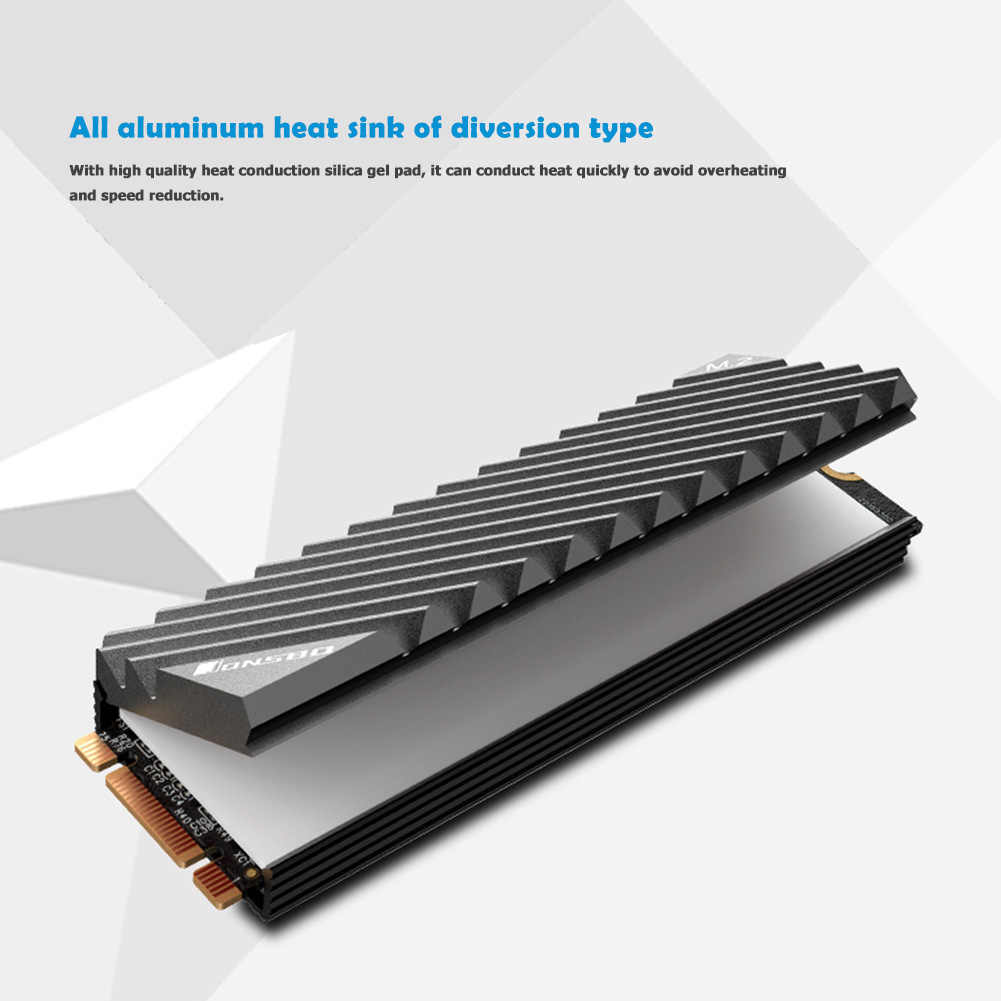 Diyeeni Heatsink for PCIE M.2 SSD 2280 70 x 22 x 6 mm Aluminum M.2 Cooler with Thermal Pad and Rubber Attachment Gold Computer Cooling Components