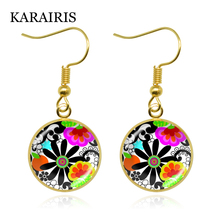 KARAIRIS New Beautiful Flowers Element Glass Round Bohemia Folk Art Patterns Earrings Fashion Jewelry for Women Girls