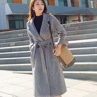 new trending women woolen cashmere coat long jacket outerwear for lady female autumn winter clothing grey plus big oversize xxxl