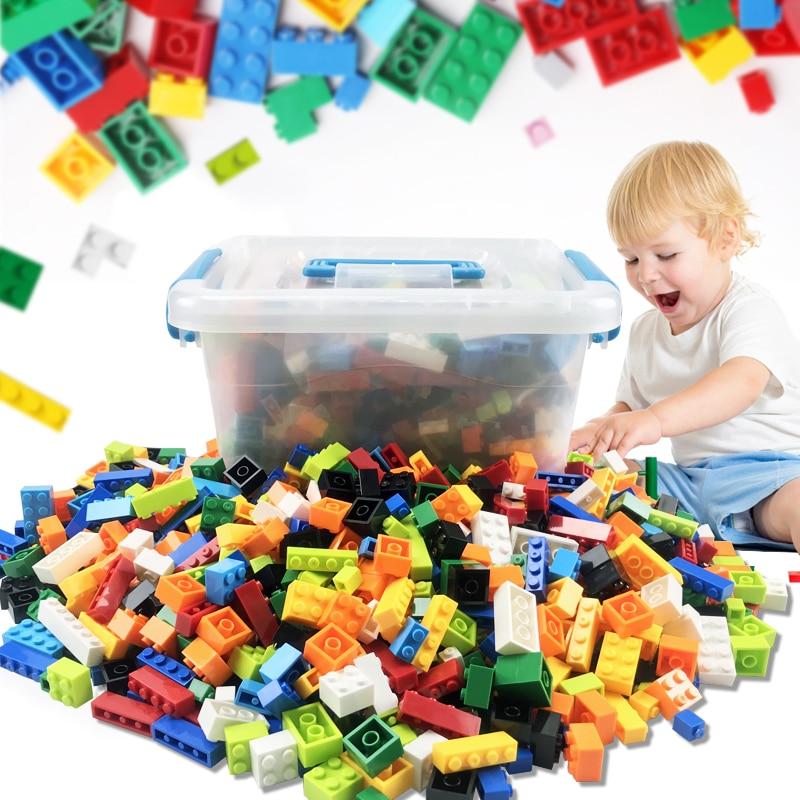 1000 Pieces Building Blocks City DIY Creative Bricks Bulk Model Figures Educational Kid Toys Duploe Big Bricks Base Plate