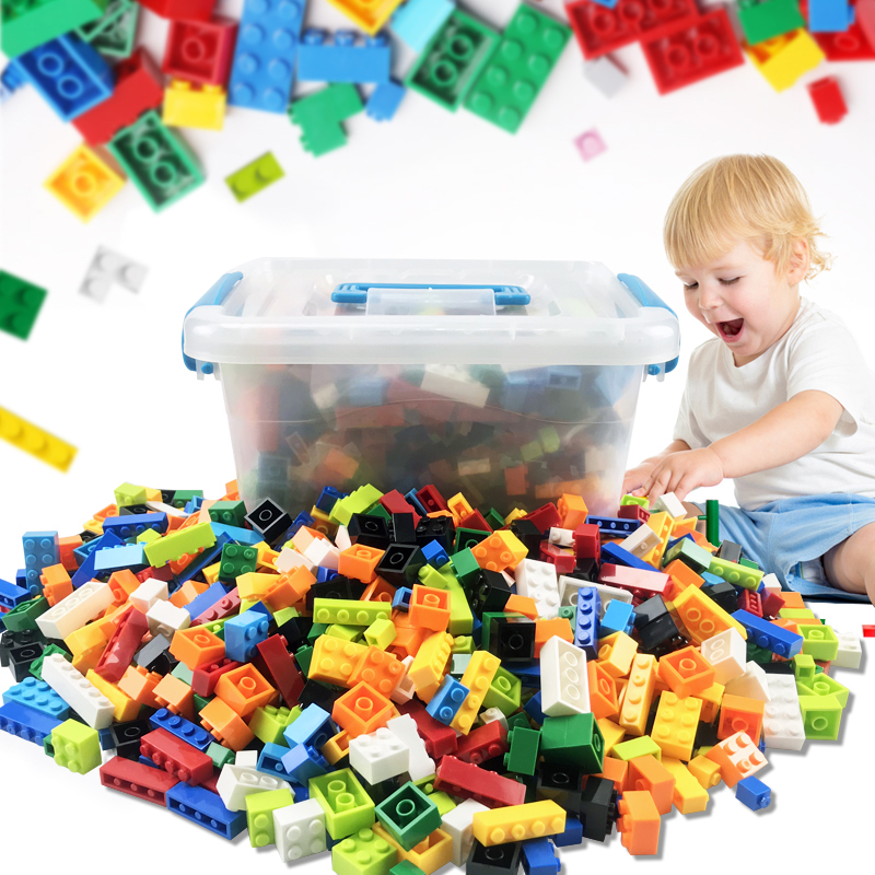 1000 Pieces Legoes Building Blocks City DIY Creative Bricks Bulk Model Figures Educational Kid Toys Duploe Big Bricks Base Plate
