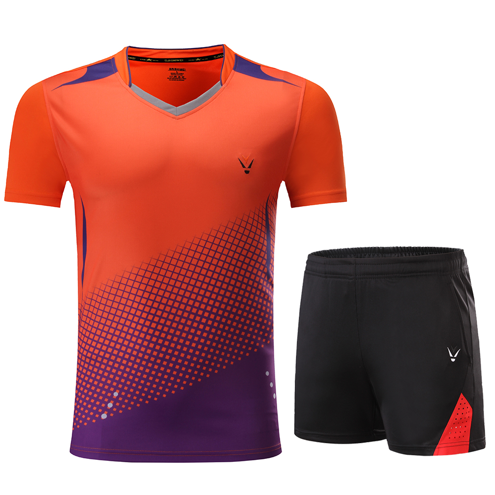 Детская рубашка для мальчиков бадминтон синий костюм для девочек бадминтон Женская рубашка форма для бадминтона теннисные командные спортивные комплекты, шорты, одежда - Цвет: 3860 Orange