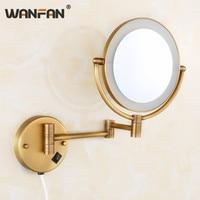 WANFAN Bath Mirrors Brass Antique 1x3 Magnifying Bathroom Wall Illuminator LED Cosmetic Makeup With Lighting Women Mirror 2068F