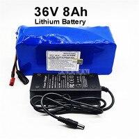 36 v 8ah 8000 mah 18650 bateria de lítio pcv caso embutido placa de proteção para scooter elétrico bicicleta ebike + carregador