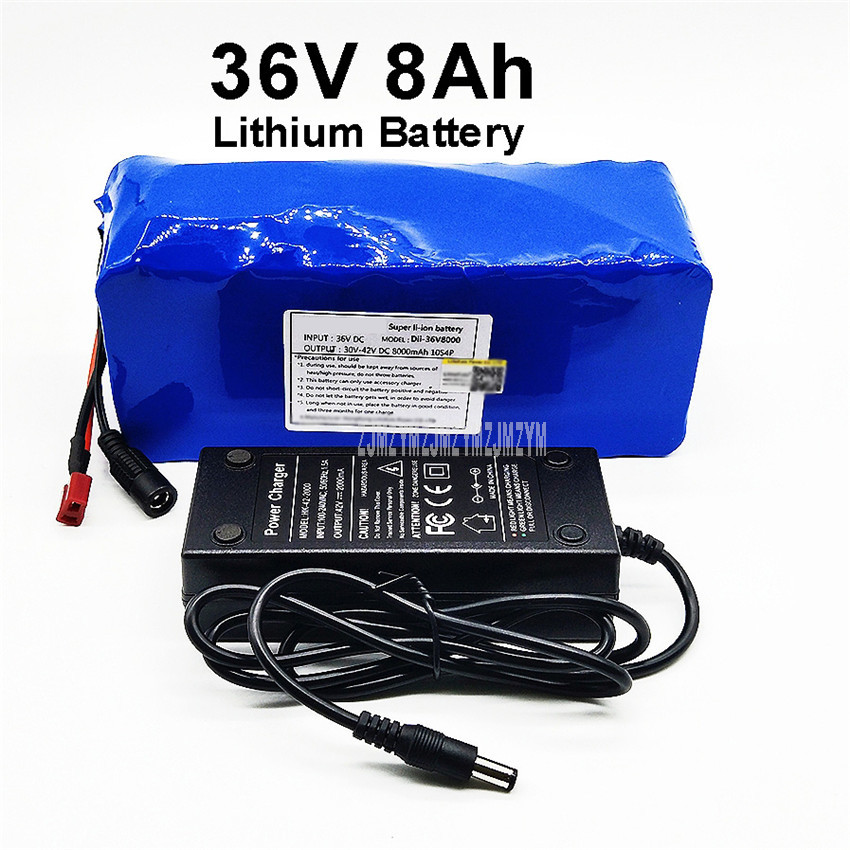 36V 8Ah 8000mAh 18650 Lithium Battery Pack PCV Case Built in Protection Board For Electric Scooter Bicycle Ebike + Charger|Rechargeable Batteries| |  - title=