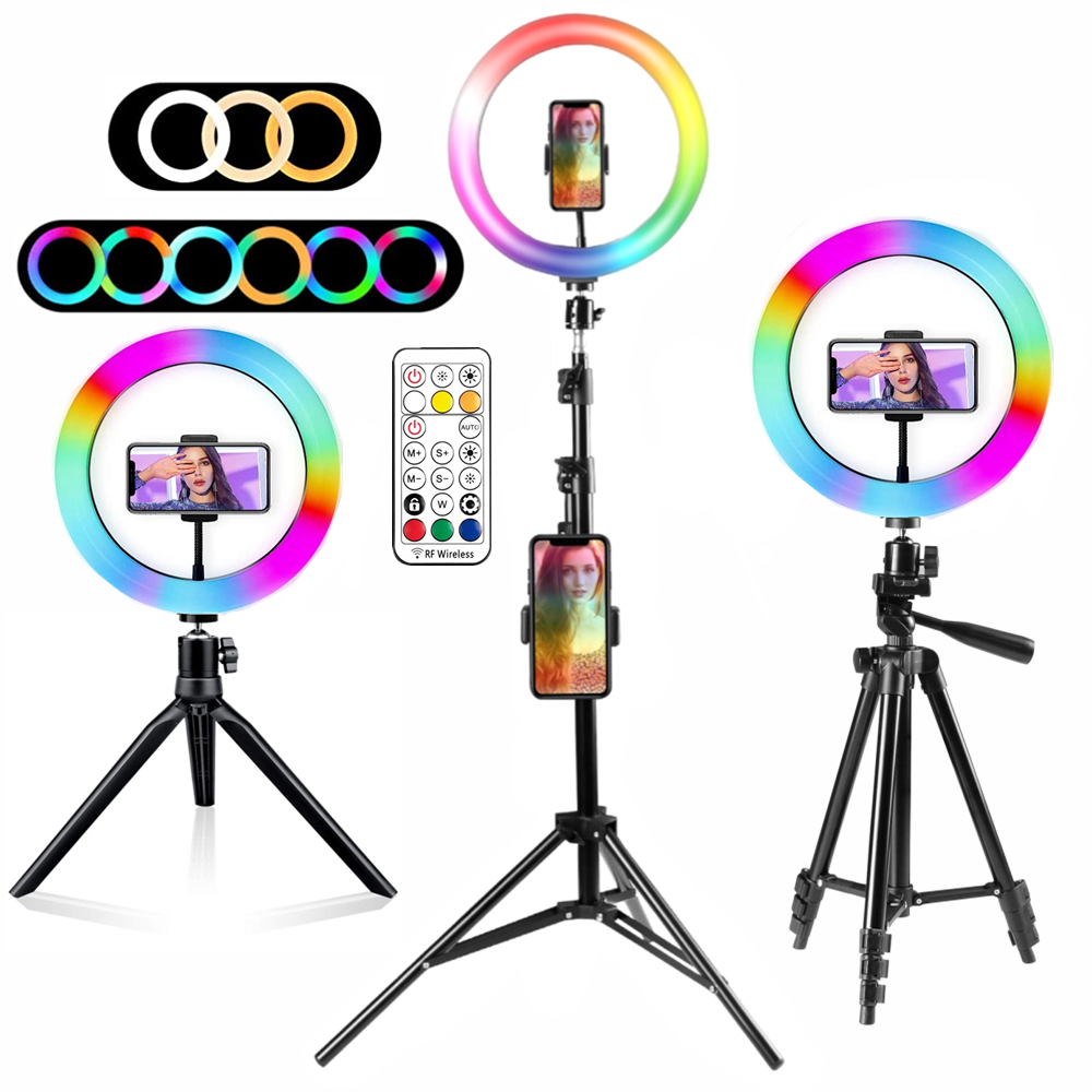 Ring Light Rgb Lamp Ring Round With Tripod For Smartphone Mobile Led Video Light Ring To Make Youtube Photographic Lighting