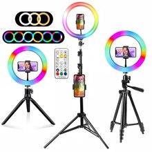 Кольцевой светильник Rgb лампа кольцо круглого сечения с Штатив для смартфона мобильного светодиодный видео светильник кольцо для того, что...