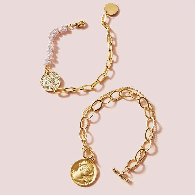 European And American Fashion Style Portrait Pendant Bracelet Creative Retro Simple Chain Bracelet Jewelry