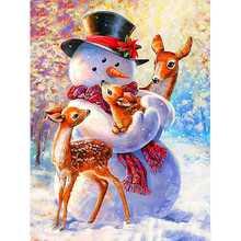 Набор для рисования по номерам на холсте снеговик