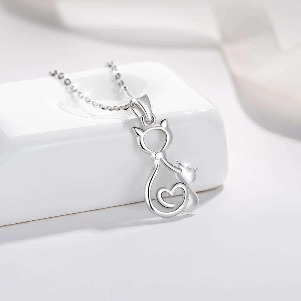 Kitty Charm Pendant 925 Sterling Silver Jewelry Cat Necklace