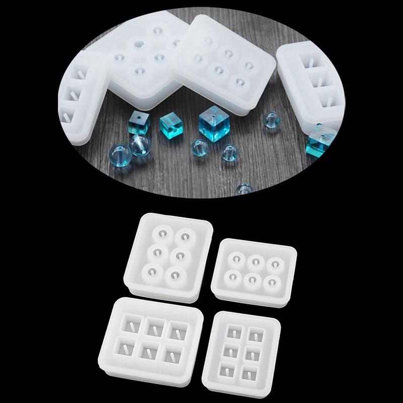 DIY Silicone Bead Mold Round Square Shape Handmade Jewelry Making Hand Craft