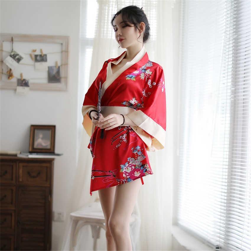 ثوب الكيمونو الياباني فستان تأثيري للنساء ملابس خاصة يوكاتا مثير منامة طباعة الحرير اليابان موضة خادمة Haori Obi الملابس