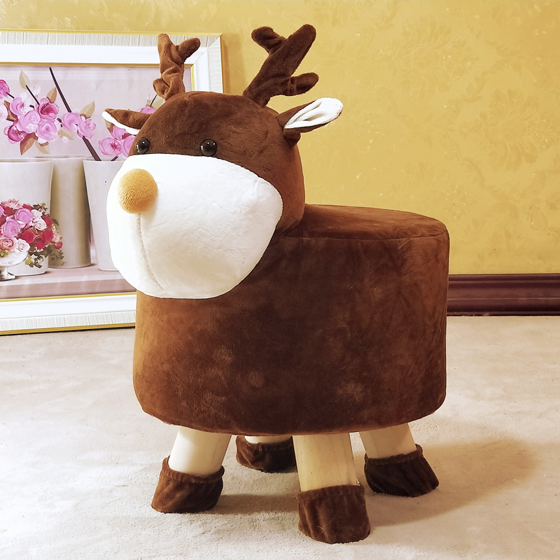 Children's Cartoon Stool Solid Wood Animal Sofa Stool Household Baby Cute Shoes Plush Stool Creative Short Bench