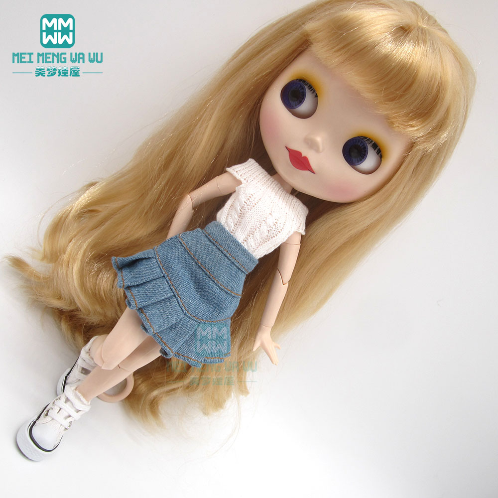 Doll Clothes White Sweater + Denim Skirt + Sneakers For 28cm Blyth Azone1/6 Doll Accessories
