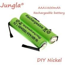 Оригинальный перезаряжаемый аккумулятор 1,2 в AAA 1800 мА/ч AAA Ni-MH cell со сварочными наконечниками, плоские игрушки, беспроводной телефон + DIY никел...
