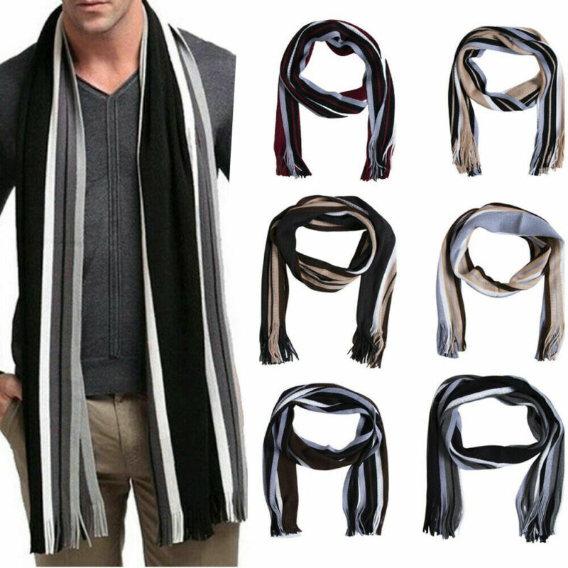 Men`s Long Soft Knitting Wool Scarf Classic Shawl Winter Warm Fringe Striped Tassel Scarf