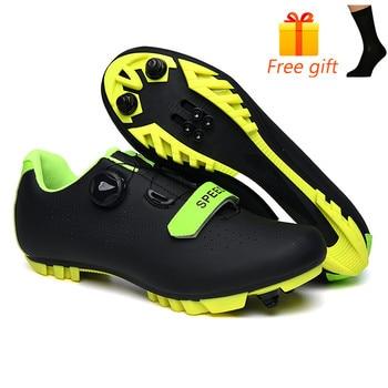 Carbon Fiber Men Cycling Shoe Breathable Triathlon Mountain Bike Shoes Man Sport Road Racing Snaeker Spin Buckle 8