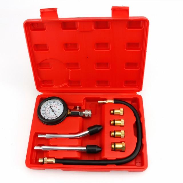 Testador de compressão de motor gasolina, auto medidor de pressão de motor e cilindro de gás de gasolina testador com adaptador m10 m12 m14 m18