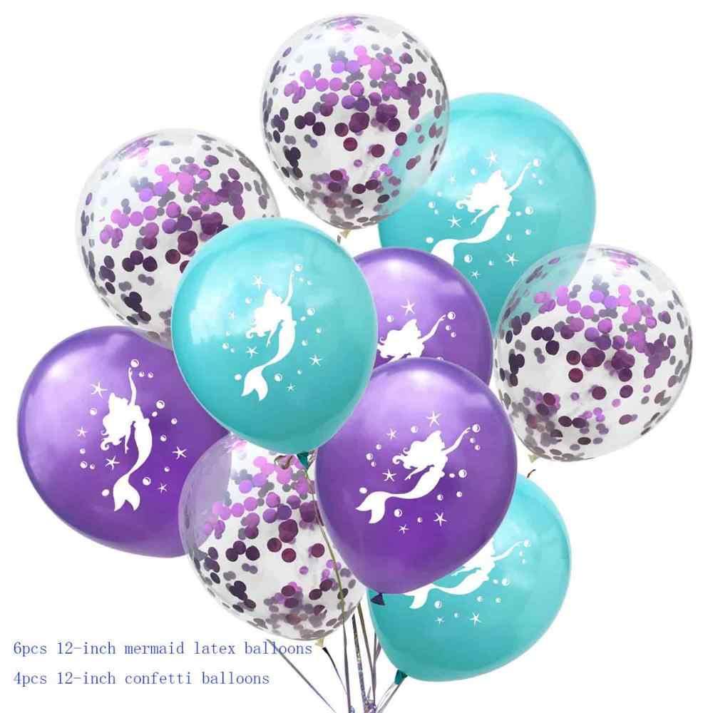 10 ชิ้น Tiffany blue สีม่วง mermaid party ตกแต่งบอลลูนวันเกิดโลหะบอลลูนฮีเลียมบอลลูน theme party