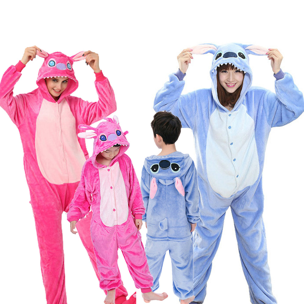 Unicorn Pajama Adult Animal Stitch Onesie Boys Girls Women Men  Couple 2020 Winter Pajama Suit Sleepwear Flannel Pijama