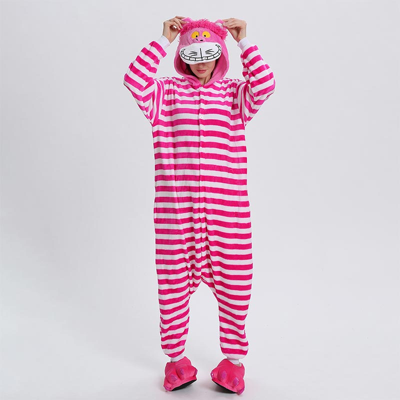 Cheshire Cat Kigurumis Onesie Women Funny Suit Cartoon Alice Jumpsuit Christmas Halloween Outfit Winter Soft Warm Home Sleepwear
