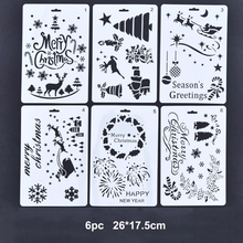 6pc Christmas Combination DIY Stencils Wall Painting Scrapbook Coloring Embossing Album Decorative Paper Card Template Reusable merry christmas trees sticker painting stencils for diy scrapbooking stamps home decor paper card template decoration album