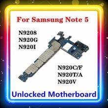 Para Samsung Galaxy Note 5 N920C/F placa base 32gb N9208 N920G/N920I/N920C/N920T/N920V N9200 N920P N920A Android OS