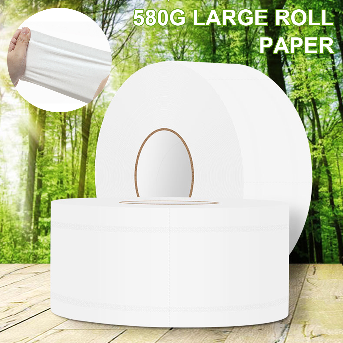1 Roll 580g/roll 900+sheets Jumbo Roll Toilet Paper Virgin Wood Pulp Towels Adjunct Non-Smell Soft Tissue For Home Public Hotel