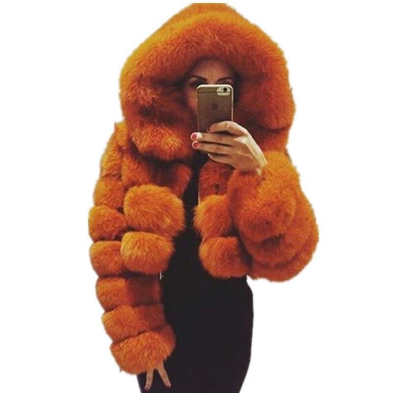 FURSARCAR Natural Real Women Fox Fur Coat With Hood Luxury Female Fur Jacket Thick Warm Fashion Female Winter Genuine Fur Coats