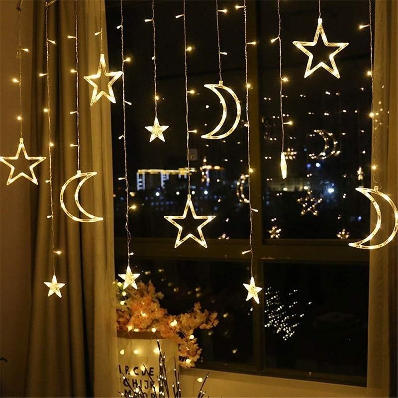 3.5M 220V LED Moon Star Lamp Christmas Garland String Lights Neon Lantern Fairy Curtain Light For Wedding Holiday Decoration